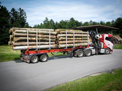 a 2-axle semi-trailer optimised for the transport of short logs.