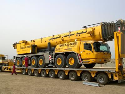 9-axle semi-trailer with a high payload for the transport of lifting vehicles.