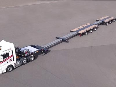 New for North America! The true all-rounder. Extendable 6-axle low-bed trailer (3+3) for heavy transport projects with payloads up to 120,000 lbs.