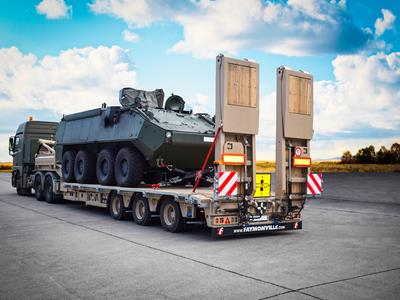 In the military, these low-loaders are used for transporting tanks, supply containers, military equipment etc. for repairs or logistical tasks.