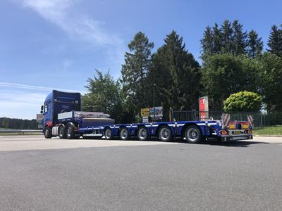 "The extendable MultiMAX vehicle is a low deck stepframe trailer on 17.5"" tyres to help maintain the lowest possible transport heights throughout Europe."