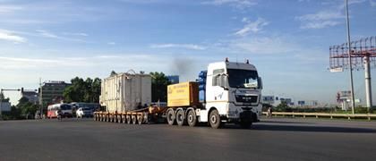 Customer Multi-Nation from Vietnam moves a 131 tons transformer with a capacity of 250MVA. on a 12-axle modular combination by Faymonville.