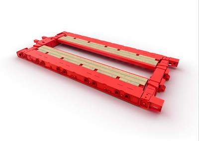 By means of hydraulic widening - the Hydro-Shift principle - this lowbed version can be flexibly adapted in width.