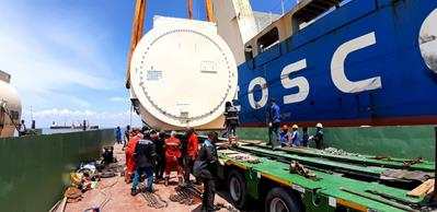 It is a real adventure to transport a 300 tons stator through Indonesia.